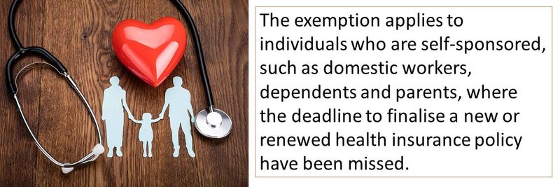 The exemption applies to individuals who are self-sponsored, such as domestic workers, dependents and parents, where the deadline to finalise a new or renewed health insurance policy have been missed.