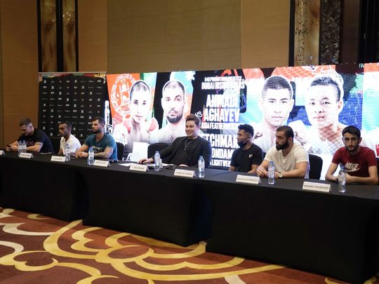 The press conference for Friday's 'Rising Stars' event at the Conrad Hotel in Dubai