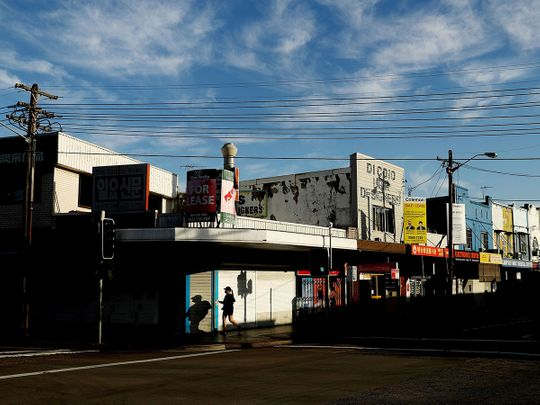 Shuttered stores and businesses in the Campsie suburb of Sydney