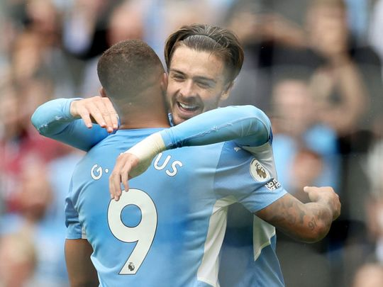 Manchester City's Jack Grealish celebrates his first goal for the club