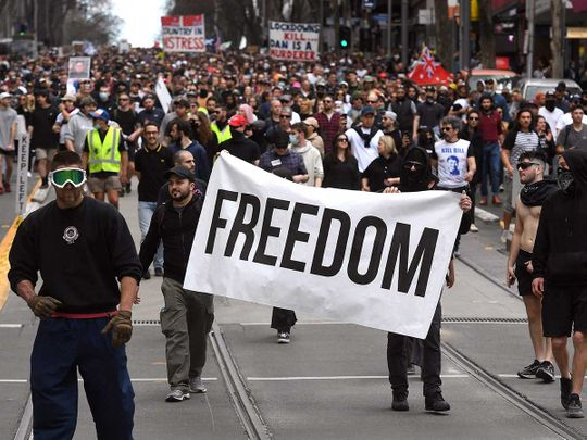 mELBOURNE Australia lockdown covid protest