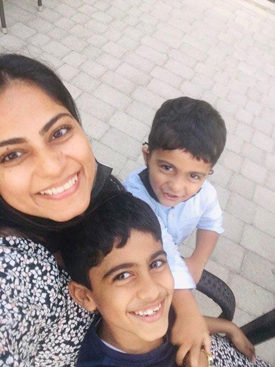 Fabiha Khalid with her sons