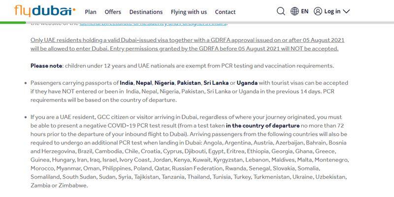 FlyDubai notice visitor visa