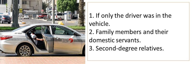 1. If only the driver was in the vehicle. 2. Family members and their domestic servants. 3. Second-degree relatives.