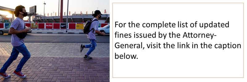 For the complete list of updated fines issued by the Attorney-General, visit the link in the caption below.