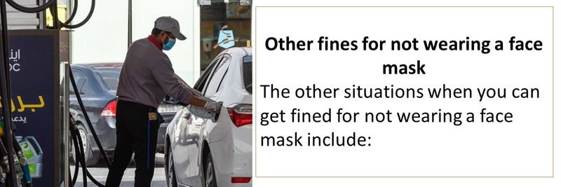 Other fines for not wearing a face mask The other situations when you can get fined for not wearing a face mask include: