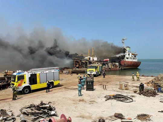 Ship fire Umm Al Quwain