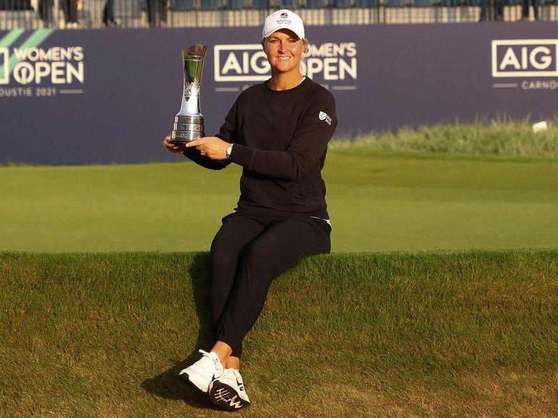 Sweden's AnnaNordqvist with the Women's Open trophy