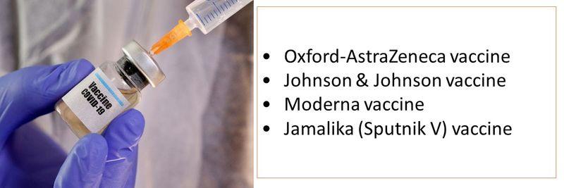 •Oxford-AstraZeneca vaccine •Johnson & Johnson vaccine •Moderna vaccine •Jamalika (Sputnik V) vaccine