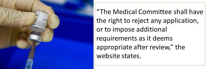 """""""The Medical Committee shall have the right to reject any application, or to impose additional requirements as it deems appropriate after review,"""" the website states."""