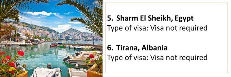 5.Sharm El Sheikh, Egypt Type of visa: Visa not required  6.Tirana, Albania Type of visa: Visa not required
