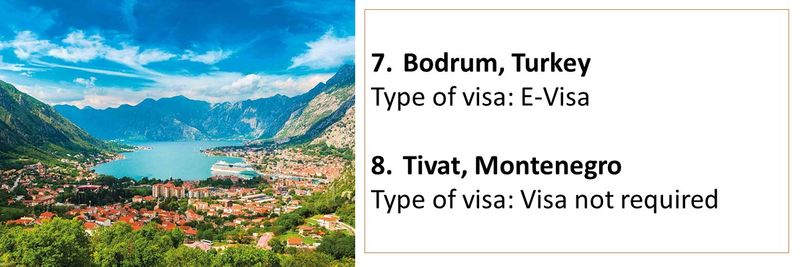 7.Bodrum, Turkey Type of visa: E-Visa  8.Tivat, Montenegro Type of visa: Visa not required