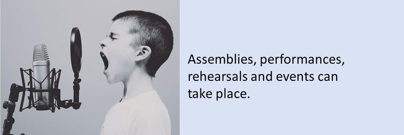 Assemblies, performances, rehearsals and events can take place.