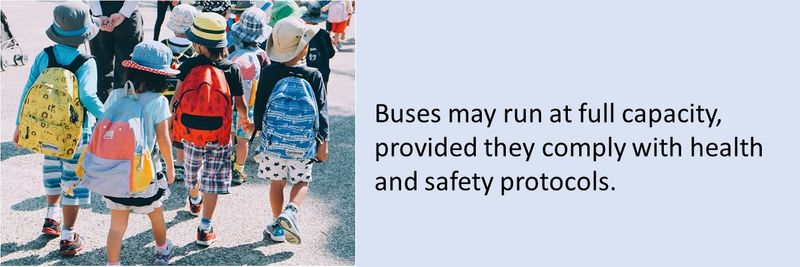 Buses may run at full capacity, provided they comply with health and safety protocols.