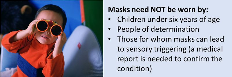 Masks need NOT be worn by