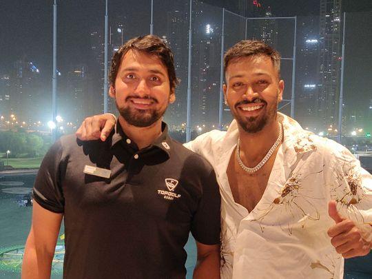 Mumbai Indians' Hardik Pandya with Topgolf coach Maninder Singh