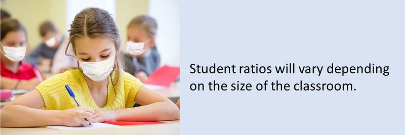 Student ratios will vary depending on the size of the classroom.