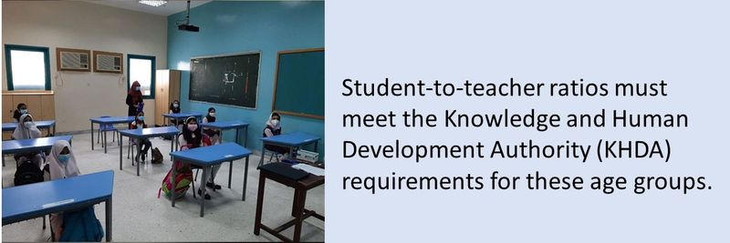 Student-to-teacher ratios must meet the Knowledge and Human Development Authority (KHDA) requirements for these age groups.