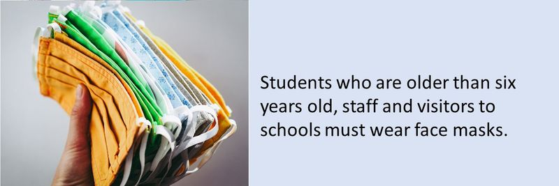 Students who are older than six years old, staff and visitors to schools must wear face masks.