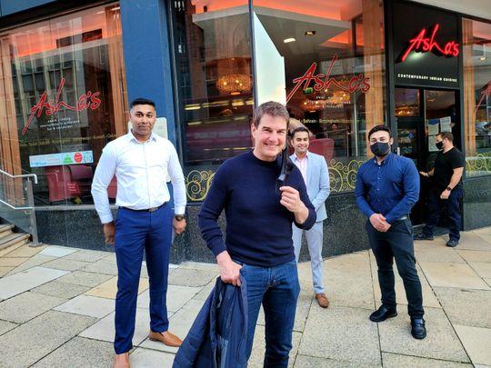 Tom Cruise at Asha's restaurant in Birmingham