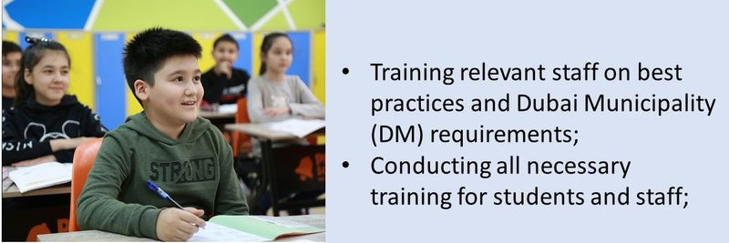 Training relevant staff on best practices and Dubai Municipality (DM) requirements