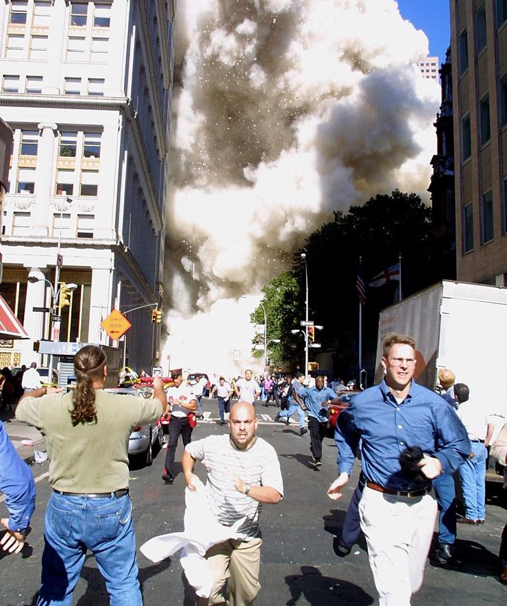 File photo: A tower of the World Trade Center collapses in lower Manhattan, New York on September 11, 2001.