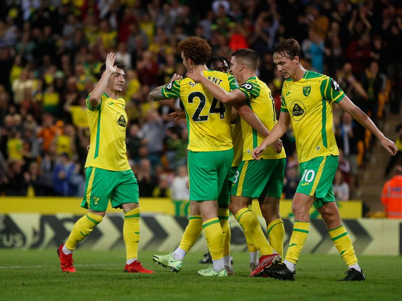 Norwich City's Josh Sargent celebrates scoring their sixth goal against Bournemouth