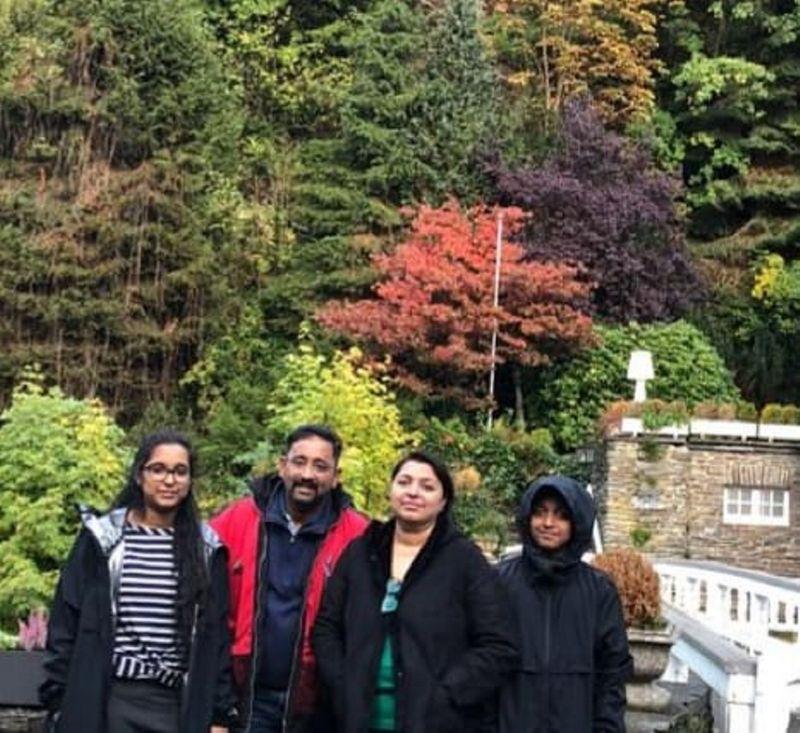 A.K.S. Satish's family in 2019.