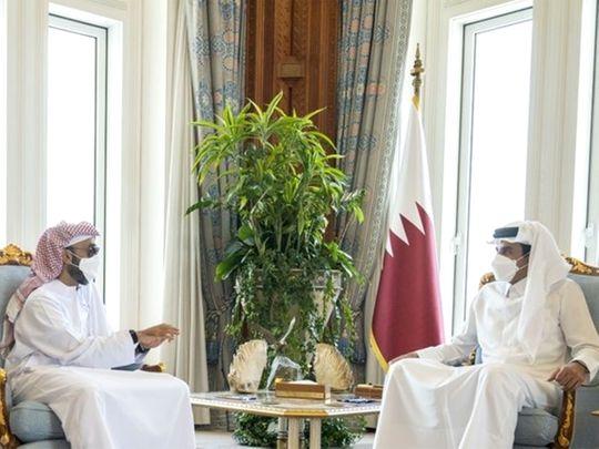 Emir of Qatar Sheikh Tamim Bin Hamad Al Thani receives an Emirati delegation
