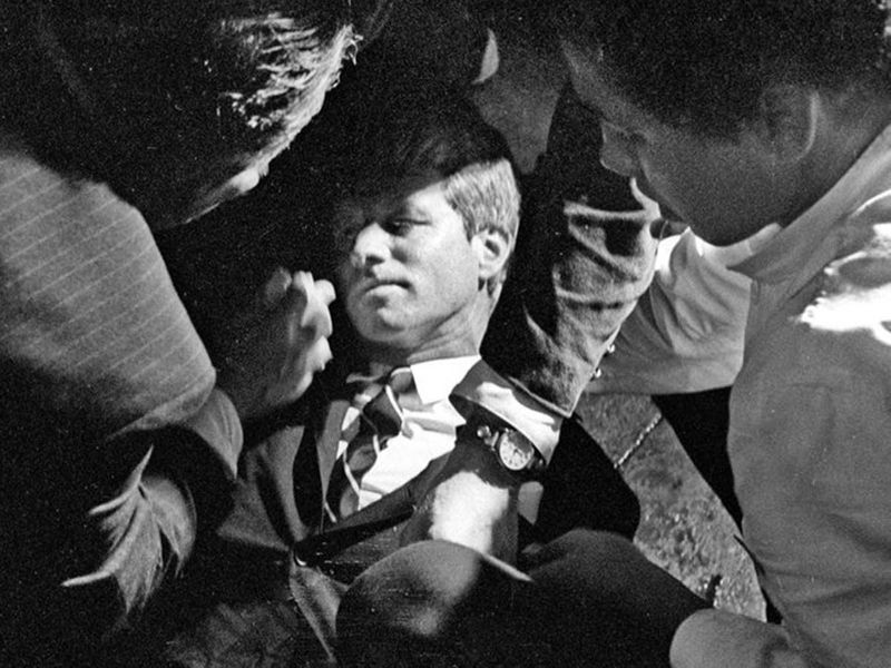 In this June 5, 1968 file photo, Senator Robert F. Kennedy is seen as he lies on the floor of the Ambassador hotel in Los Angeles moments after he was shot.