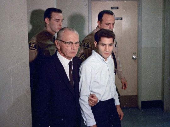 This June 1968 file photo shows Sirhan Sirhan, right, then the accused assassin of Sen. Robert F. Kennedy, with his attorney Russell E. Parsons in Los Angeles.