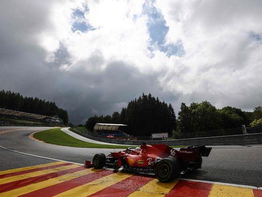 Ferrari's Charles Leclerc in action at the Belgian Grand Prix