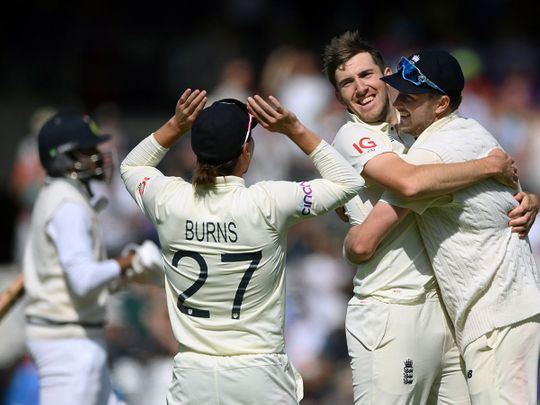 England's pacer Craig Overton celebrates the last wicket of India to win the Test at Headingley