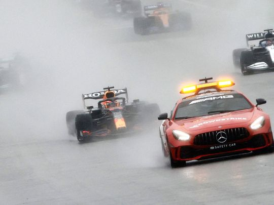 Rain has caused chaos at the Belgian GP