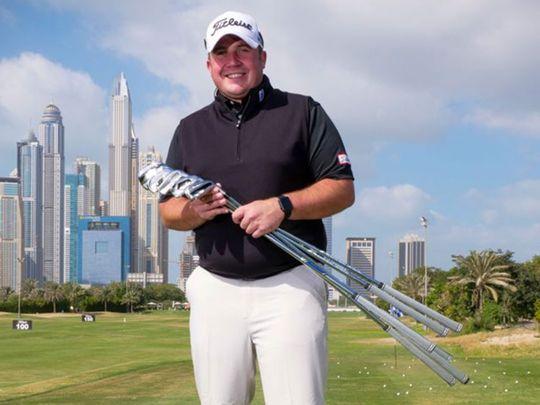 Stuart Taylor on the driving range at Emirates Golf Club in Dubai
