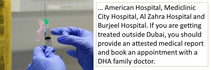 … American Hospital, Mediclinic City Hospital, Al Zahra Hospital and Burjeel Hospital. If you are getting treated outside Dubai, you should provide an attested medical report and book an appointment with a DHA family doctor.