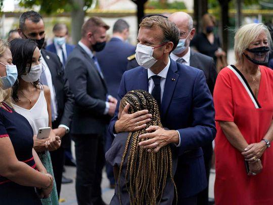 French President Emmanuel Macron school