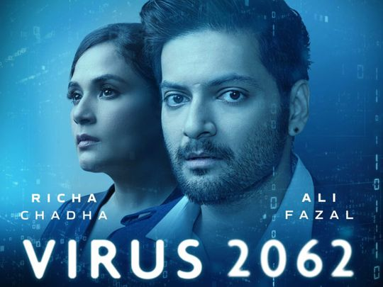 Richa Chadha and Ali Fazal in the poster for the Virus 2062 podcast
