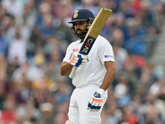 India's Rohit Sharma celebrates after completing his first overseas century against England