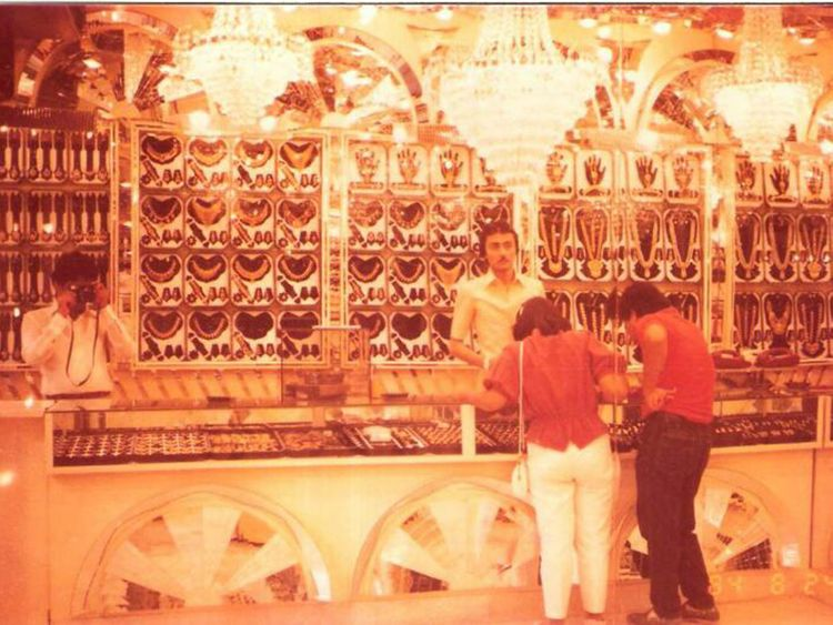 Stock - Anil Dhanak of Kanz Jewels at the Gold Souq store, sometime during the 1980s