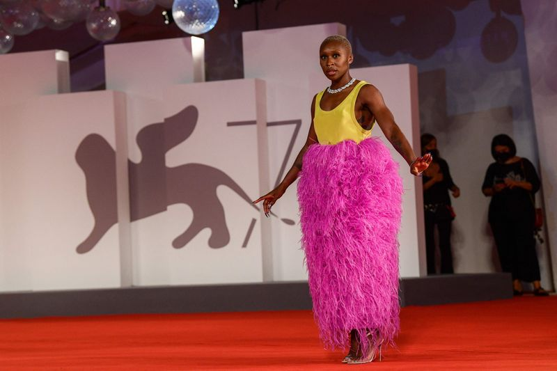 Jury member of the 78th Venice Film festival, British actress Cynthia Erivo arrives for the screening of the film