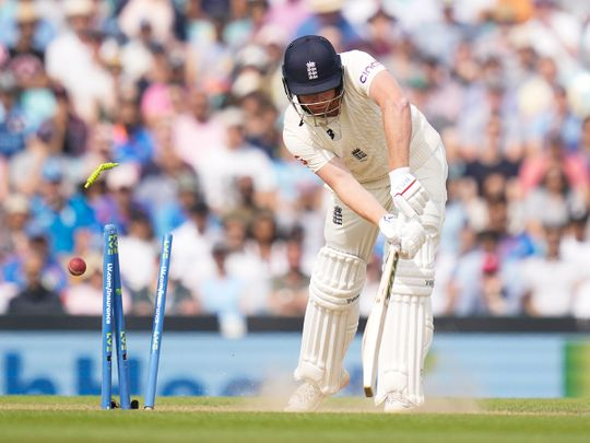England's Jonny Bairstow is bowled by India's Jasprit Bumrah