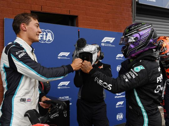 Mercedes' Lewis Hamilton and Williams' George Russell