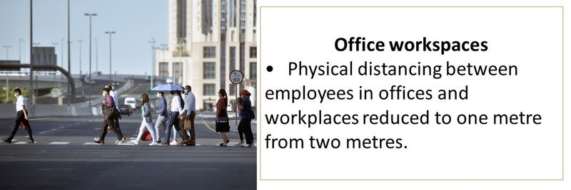 Office workspaces •Physical distancing between employees in offices and workplaces reduced to one metre from two metres.