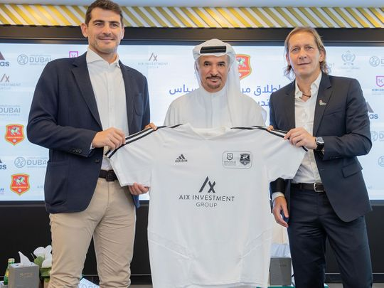 Iker Casillas, Michel Salgado and Saeed Hareb, Secretary General of DSC at the launch of the Iker Casillas Goalkeeper Training Centre