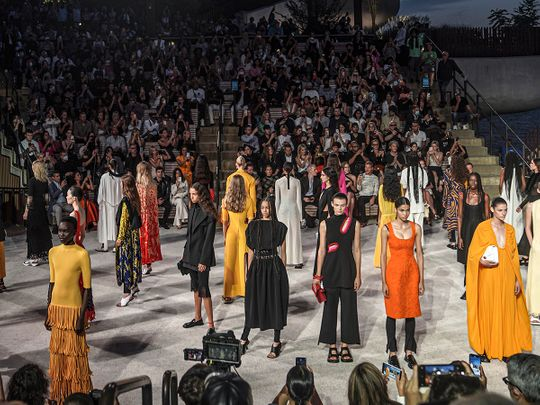 The latest fashion from Proenza Schouler is modeled during New York's Fashion Week, Wednesday Sept. 8, 2021.