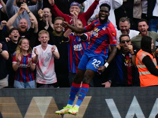 Crystal Palace's Odsonne Edouard celebrates after scoring his side's second goal against Tottenham Hotspur