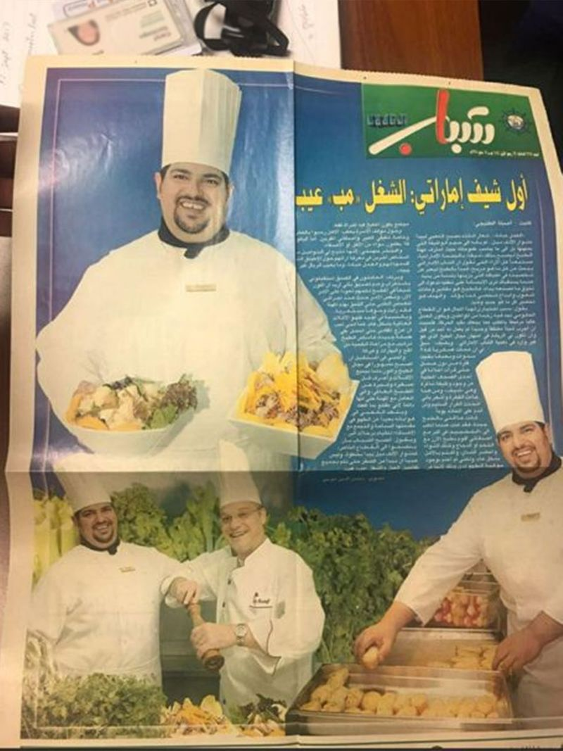 A copy of the 2004 newspaper article about Chef Al Kaabi.