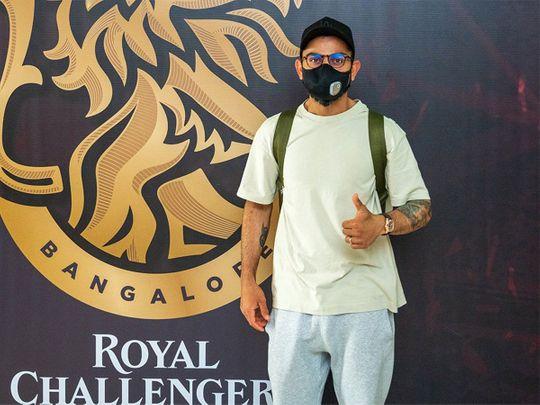 Royal Challengers Bangalore skipper outside the team hotel in Dubai