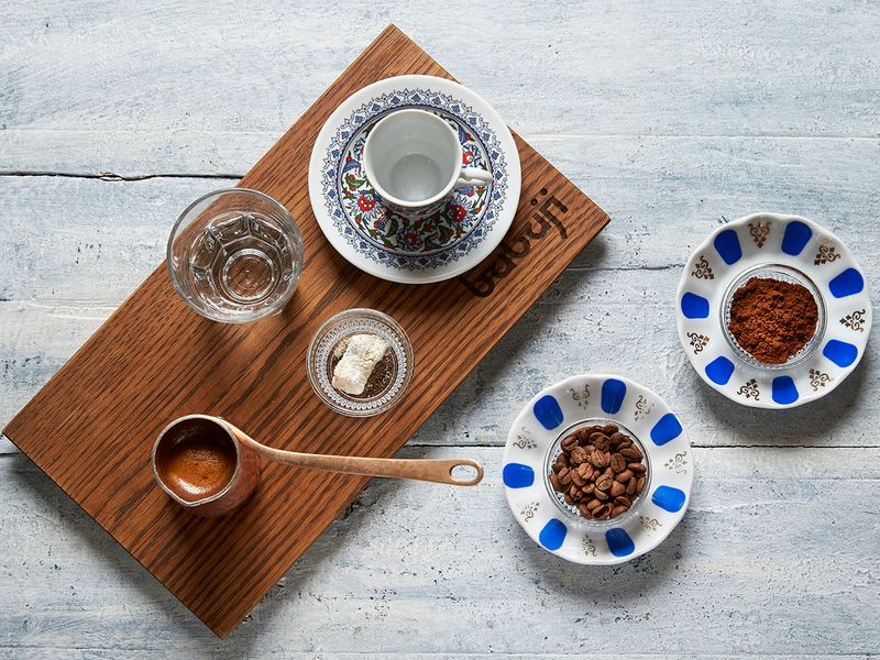 Serving traditional Turkish coffee